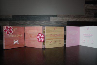 foto geboortekaartje op hout