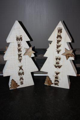 foto kerstboom met tekst gebrand