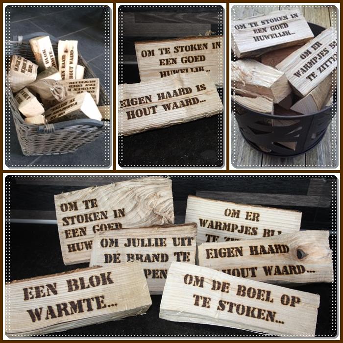 haardblokken gebrand met tekst